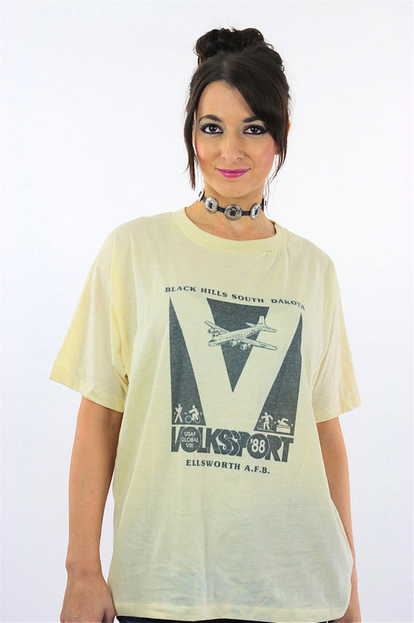 80s paper thin Airplane graphic tshirt Volkssport 88 T shirt - shabbybabe  - 1