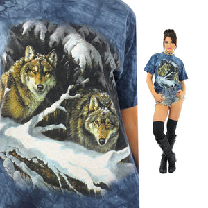Wolf shirt animal tee 90s graphic tshirt gothic Vintage 1990s grunge hipster blue short sleeve Oversize Medium - shabbybabe  - 1