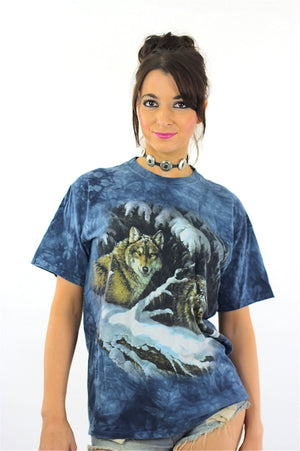 Wolf shirt animal tee 90s graphic tshirt gothic Vintage 1990s grunge hipster blue short sleeve Oversize Medium - shabbybabe  - 2