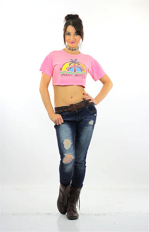 90s Ocean Pacific tropical crop top shirt pink slouchy retro graphic tee M - shabbybabe  - 5