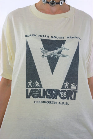 80s paper thin Airplane graphic tshirt Volkssport 88 T shirt - shabbybabe  - 4