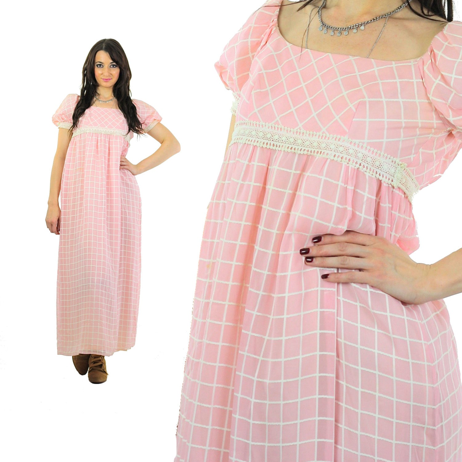 3ac791736a Prairie Maxi Dress Pastel pink Checkered Vintage 70s Sheer lace Puff sleeve  Babydoll High waisted maxi