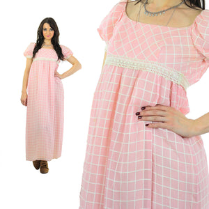 Prairie Maxi Dress Pastel pink Checkered Vintage 70s Sheer lace Puff sleeve Babydoll High waisted maxi long Tunic Small - shabbybabe  - 1