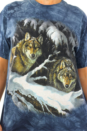 Wolf shirt animal tee 90s graphic tshirt gothic Vintage 1990s grunge hipster blue short sleeve Oversize Medium - shabbybabe  - 4