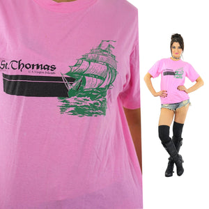 Graphic tshirt hot pink St. Thomas tee Nautical shirt Vintage 1990s Slouchy oversized short sleeve sports t shirt Medium - shabbybabe  - 1