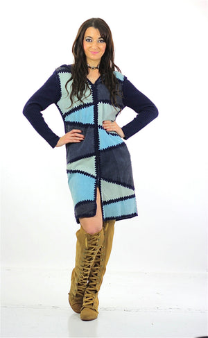90s Boho hippie navy blue suede patchwork sweater dress - shabbybabe  - 1