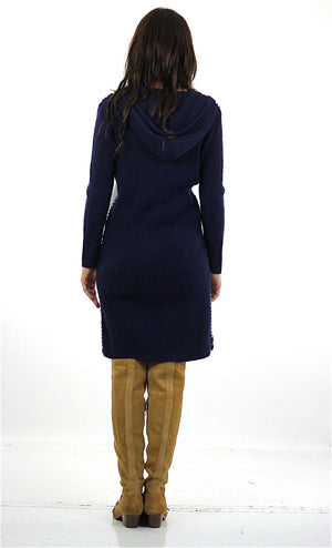 90s Boho hippie navy blue suede patchwork sweater dress - shabbybabe  - 3