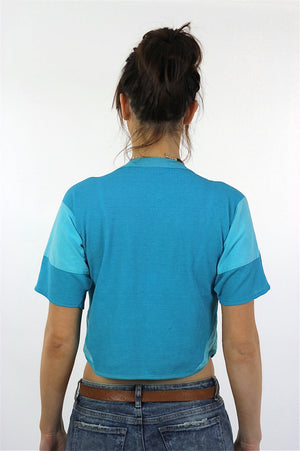 Blue crop top waffle tshirt  short sleeve cropped tee - shabbybabe  - 4