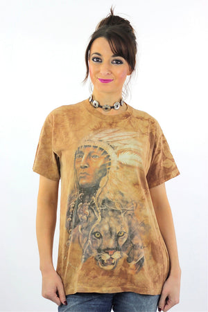 Native American shirt Southwestern Indian Chief tshirt slouchy oversize animal tee Vintage 1990s Graphic top Large - shabbybabe  - 2