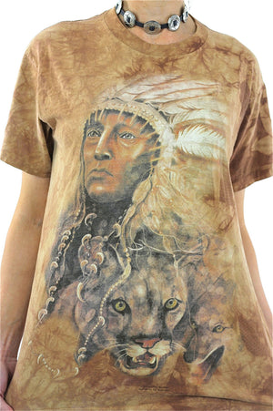 Native American shirt Southwestern Indian Chief tshirt slouchy oversize animal tee Vintage 1990s Graphic top Large - shabbybabe  - 3