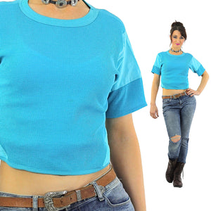 Blue crop top waffle tshirt  short sleeve cropped tee - shabbybabe  - 2
