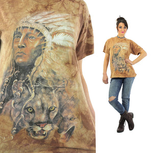 Native American shirt Southwestern Indian Chief tshirt slouchy oversize animal tee Vintage 1990s Graphic top Large - shabbybabe  - 1