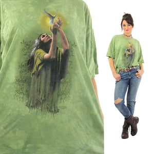 Native American shirt Indian Chief tshirt slouchy oversize tee Green short sleeve graphic tee bird print Extra Large - shabbybabe  - 1