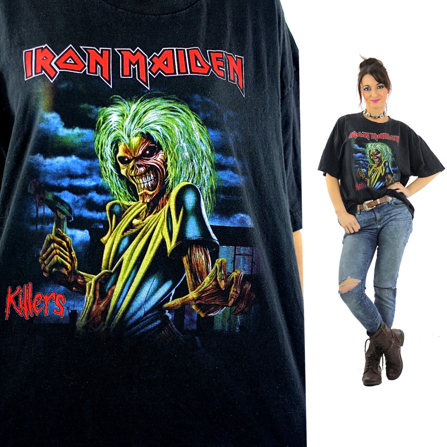 Iron Maiden Killers Tour tshirt concert tee Band shirt rock n roll graphic  black skull XL - shabbybabe