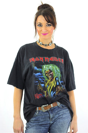 Iron Maiden Killers Tour tshirt concert tee Band shirt rock n roll graphic black skull print short sleeve slouchy Extra Large - shabbybabe  - 2