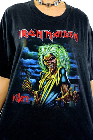 Iron Maiden Killers Tour tshirt concert tee Band shirt rock n roll graphic black skull print short sleeve slouchy Extra Large - shabbybabe  - 3