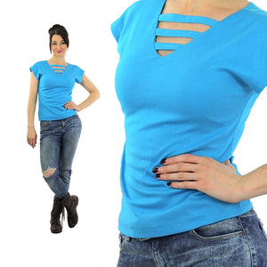 Vintage Cut out knit top Deep V  blue top tshirt retro mod Medium - shabbybabe  - 1