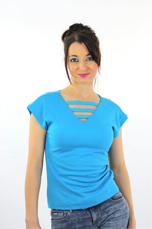 Vintage Cut out knit top Deep V  blue top tshirt retro mod Medium - shabbybabe  - 2