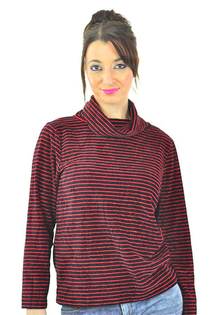 Striped shirt red black stripe blouse Vintage 1990s grunge top funnel neck  velvet sweater long sleeve slouchy retro Medium - shabbybabe  - 3