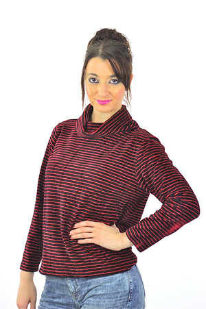 Striped shirt red black stripe blouse Vintage 1990s grunge top funnel neck  velvet sweater long sleeve slouchy retro Medium - shabbybabe  - 1