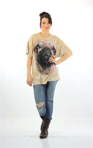 Dog shirt beige graphic tshirt Pug tee Oversize slouchy beige animal T shirt XL - shabbybabe  - 5