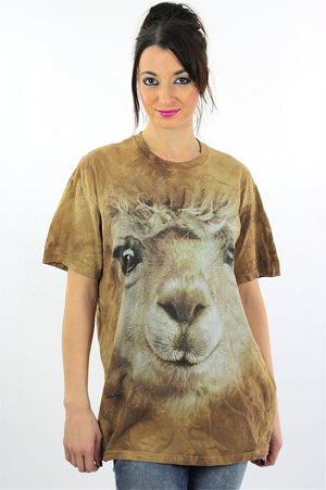Lamb sheep shirt animal tshirt slouchy oversize graphic tee short sleeve wildlife print nature retro Unisex Large - shabbybabe  - 2