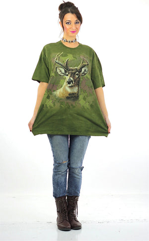 Deer animal tshirt graphic tee oversize hipster wildlife t shirt XL - shabbybabe  - 5