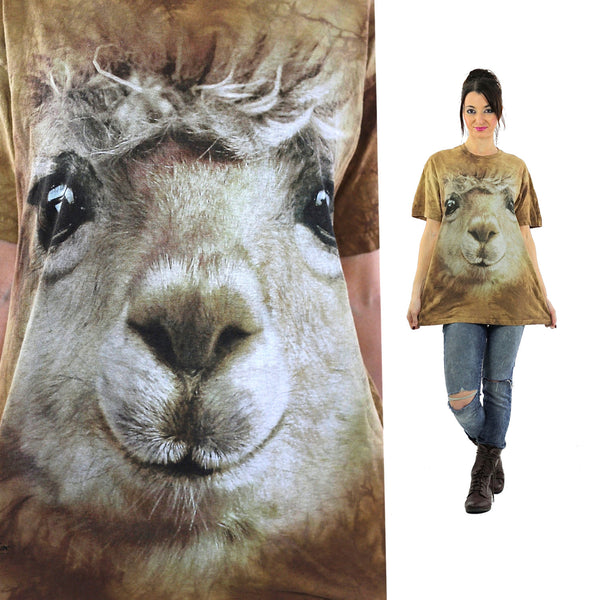 Lamb sheep shirt animal tshirt slouchy oversize graphic tee short sleeve wildlife print nature retro Unisex Large - shabbybabe  - 1