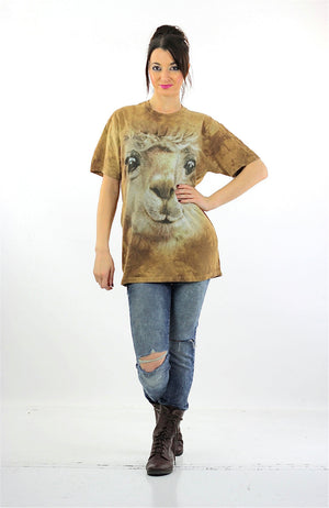 Lamb sheep shirt animal tshirt slouchy oversize graphic tee short sleeve wildlife print nature retro Unisex Large - shabbybabe  - 4