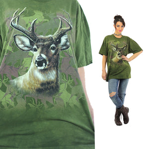 Deer animal tshirt graphic tee oversize hipster wildlife t shirt XL - shabbybabe  - 1
