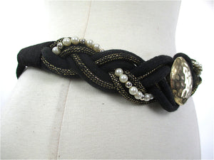 80s Black gold woven braided waist metallic belt - shabbybabe  - 2