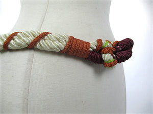 Womens woven belt braided abstract purple white copper waist narrow Vintage 1980s - shabbybabe  - 2