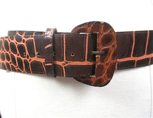 "Brown leather belt reptile print women's wide waist belt Vintage 80s genuine leather 2"" Wide - shabbybabe  - 1"