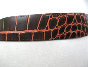 "Brown leather belt reptile print women's wide waist belt Vintage 80s genuine leather 2"" Wide - shabbybabe  - 3"