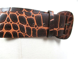 "Brown leather belt reptile print women's wide waist belt Vintage 80s genuine leather 2"" Wide - shabbybabe  - 2"