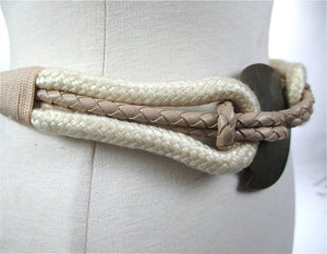 White woven wide waist braided hip belt medallion buckle - shabbybabe  - 2
