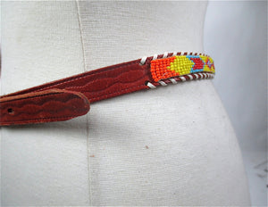 Tan leather belt beaded woven Alaska Belt tooled belt metal buckle - shabbybabe  - 2
