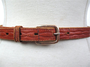 Brown leather belt woven beaded tribal abstract skinny belt narrow tan belt S - shabbybabe  - 1