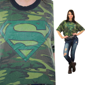 Camouflage shirt Army green Superman graphic t-shirt  XL - shabbybabe  - 1