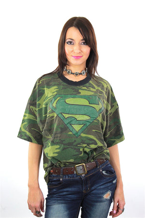 Camouflage shirt Army green Superman graphic t-shirt  XL - shabbybabe  - 2