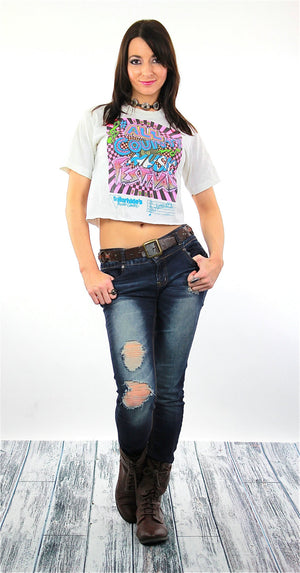 Music shirt All Country Music Festival Tshirt Vintage 1990s Neon graphic tee crop top white cropped tee shirt Small Medium - shabbybabe  - 2