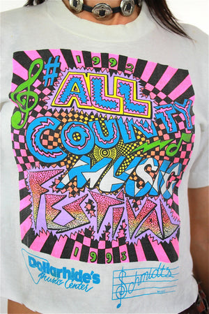Music shirt All Country Music Festival Tshirt Vintage 1990s Neon graphic tee crop top white cropped tee shirt Small Medium - shabbybabe  - 4