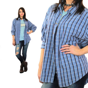 90s Grunge flannel shirt blue plaid oversized lumberjack XL - shabbybabe  - 2