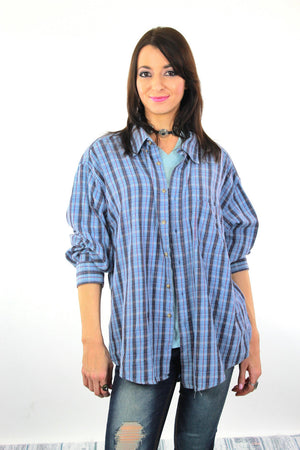 90s Grunge flannel shirt blue plaid oversized lumberjack XL - shabbybabe  - 1
