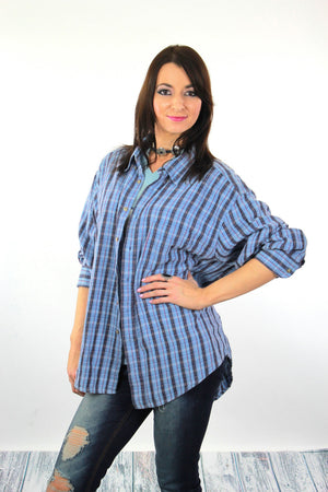 90s Grunge flannel shirt blue plaid oversized lumberjack XL - shabbybabe  - 3