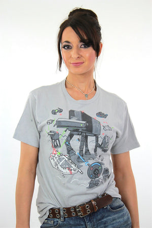 Robot shirt graphic tshirt Vintage 1990s scifi spaceship nerd geek tee short sleeve gray Unisex slouchy hipster cartoon top Medium - shabbybabe  - 2