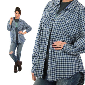 90s Blue flannel shirt  preppy checkered unisex oversized Extra Large - shabbybabe  - 2