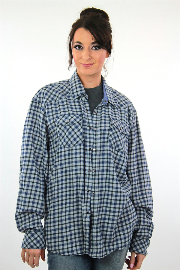 90s Blue flannel shirt  preppy checkered unisex oversized Extra Large - shabbybabe  - 1