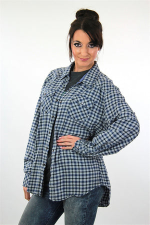 90s Blue flannel shirt  preppy checkered unisex oversized Extra Large - shabbybabe  - 3