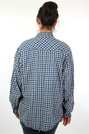 90s Blue flannel shirt  preppy checkered unisex oversized Extra Large - shabbybabe  - 4